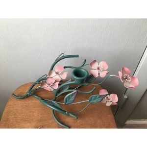 Metal Candle Holder Pink Floral Branch Cottage